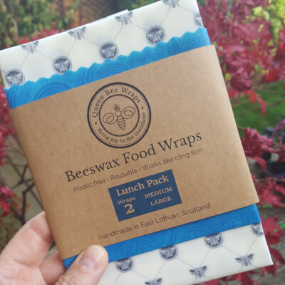 Beeswax Wraps Lunch Pack, White Bee Lnf