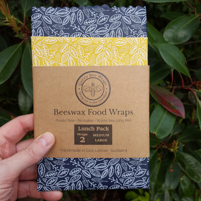 Beeswax Food Wraps - Lunch Pack Of 2 - Scandi Leaf Design