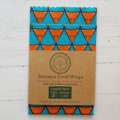 Sale - Beeswax Wraps Kids Lunch Pack Teal Fox Organic - Last One
