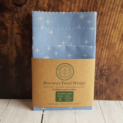 Beeswax  Food Wraps. Variety Pack Organic. Blue