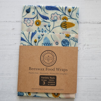 Beeswax Food Wraps - Springtime Blues, Variety Pack (S, M, L)