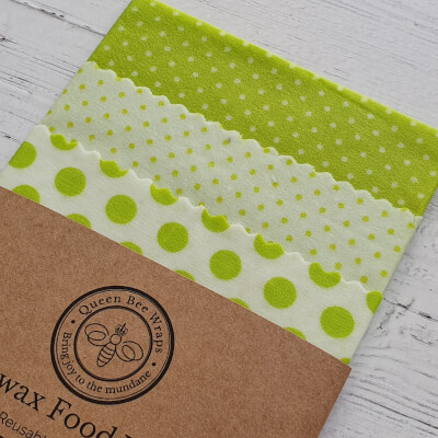 Beeswax Wraps - Lime Dotty, Variety Pack (S, M, L)
