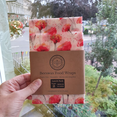 Beeswax Food Wraps - Lunch Pack Of 2 - Poppy Design
