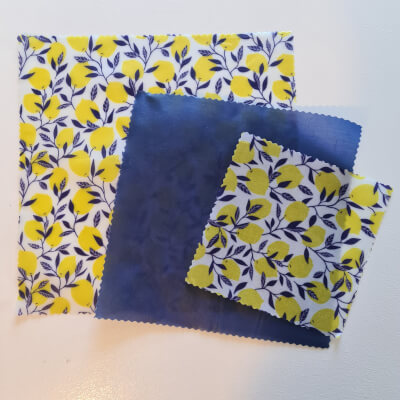 Sale (Blairgowrie) Beeswax Food Wraps - Lemon & Blue, Variety Pack (S, M, L)