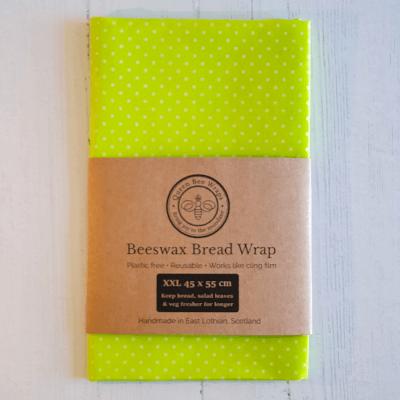 Winter Sale: Beeswax Bread/Veg Wrap - Design, Lime Polka Dot