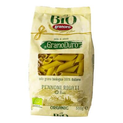 Organic Italian Pennoni Rigati Pasta From Granoro, 500 Gr Apulia.