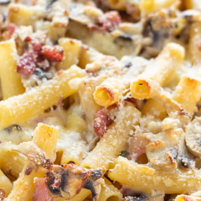 Oven Baked Gluten Free Pasta With Pancetta & Mushroom For 2