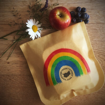 Waxed Lunch Pouch - Rainbow