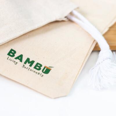 Medium Bambú Drawstring Cotton Bag