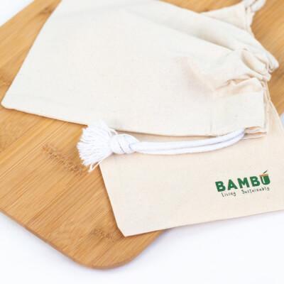 Small Bambú Drawstring Cotton Bag