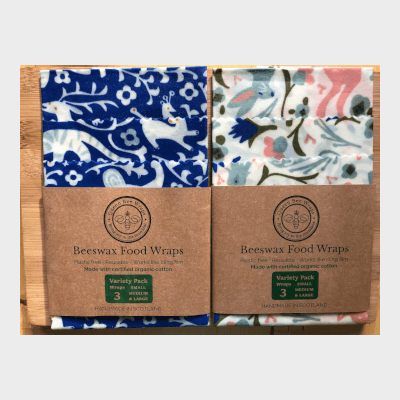 Queens Bee Wraps Beeswax Food Wraps - Variety 3-Pack Organic