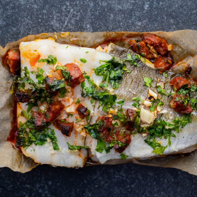 Oven Ready Cod, Garlic & Chorizo Bake