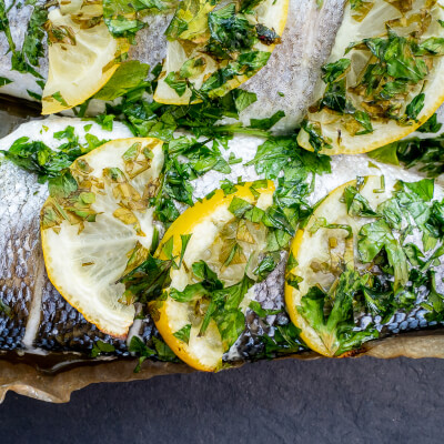 Oven Ready Seabass (Whole) - Lemon & Parsley