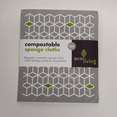 Ecoliving Compostable Sponge Cloths 2Pk