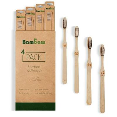 Bambaw 4Pk Bamboo Toothbrush Medium