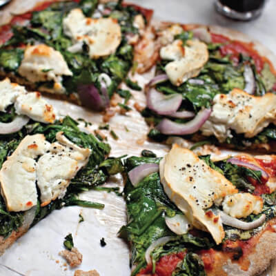 Spinach, Mushroom, Red Onion Pizza With Goats Cheese