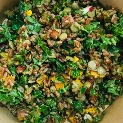 Red Rice With Kale, Toasted Almonds And A Minty Lemon Dressing