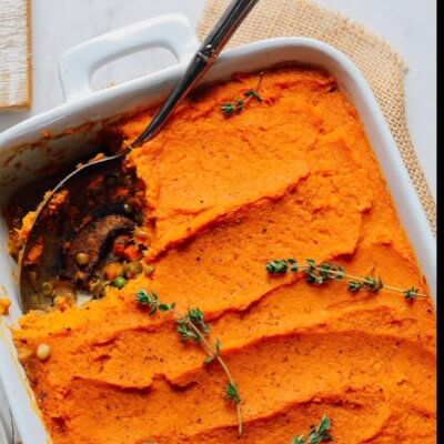 Large Moroccan Style Vegetable And Lentil Pie With Sweet Potato Topping