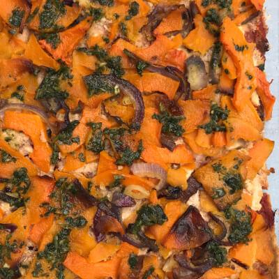 Tofu Pizza With Butternut Squash, Red Onion And Coriander Pesto