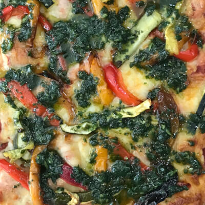 Mozzarella Pizza With Roasted Peppers And Basil Pesto