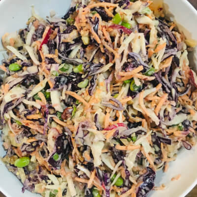 Crunchy Red Slaw With Toasted Peanuts And Sesame Seeds