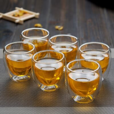 Double Wall Glass Espresso Cups - Set Of 6