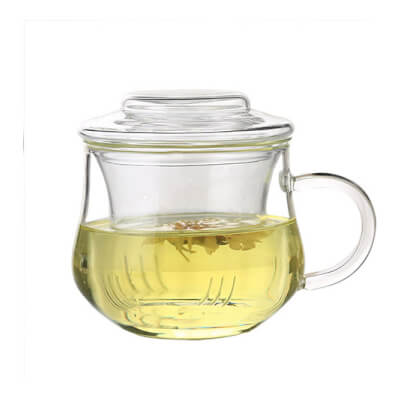 Glass Tea Cup With Strainer And Lid 350 Ml