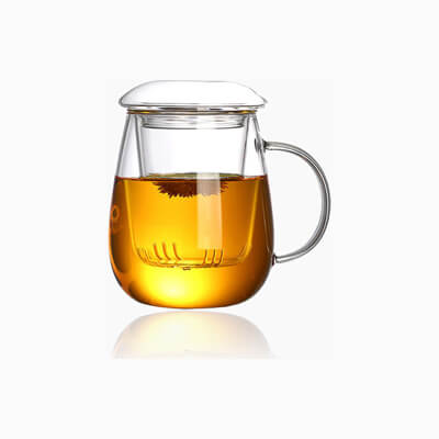 Glass Tea Cup With Strainer And Lid 500 Ml