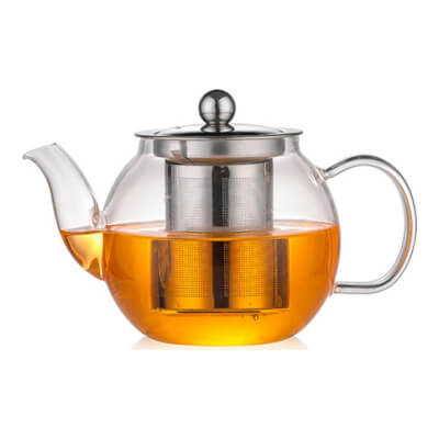 Glass Teapot With Stainless Steel Strainer 1 L