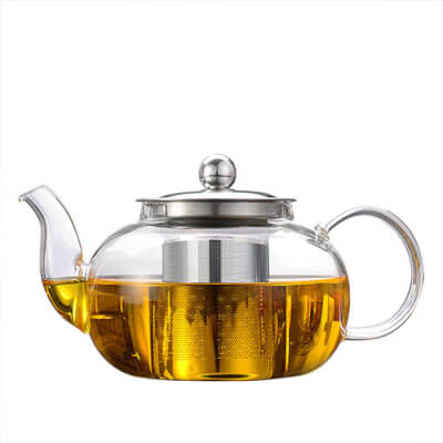 Glass Teapot With Stainless Steel Strainer 0.6/0.8 L