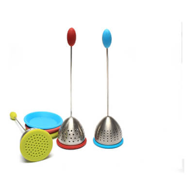 Stainless Steel Tea Strainer 'Colourful' With Silicon Rest