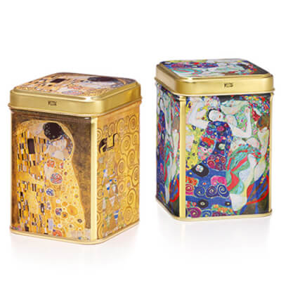 Tea Tin 'Klimt' Golden Colour Design