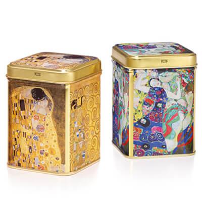 Tea Tin 'Klimt' Blue Colour Design