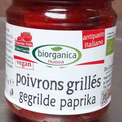 Organic Grilled Red Peppers On Oil