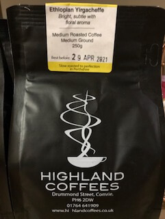 Highland Coffees - Ethiopian Yirgacheffe - 250G - Medium Ground Coffee