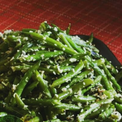 Green Beans Cooked With Coconut And Ginger. Vegan.  Handmade. Serves 2/3 Generously.