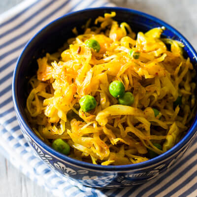 Sauteed Cabbage With Mustard Seeds & Ginger. Vegan
