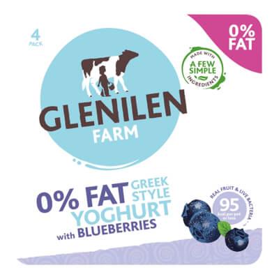 Blueberry Greek Style Yoghurt 0% Fat  - 4 X 125G