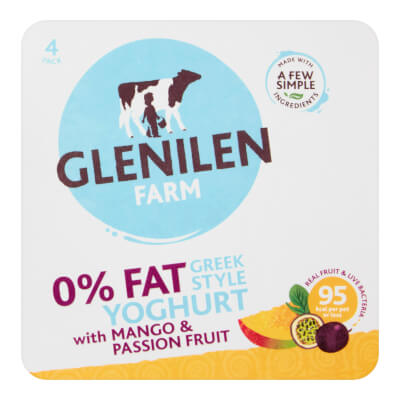 Mango & Passion Fruit Greek Style Yoghurt | 0% Fat | 4 X 125G