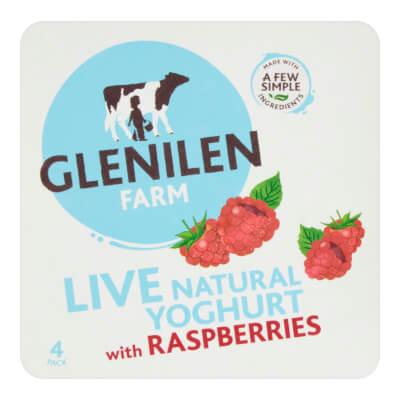 Raspberry & Natural Live Yoghurt | 4 X 125G