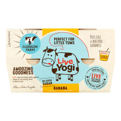 Kids Live Yoghurt | Banana | No Added Sugar | 4 X 90G