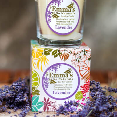 Emma's So Naturals Soy Wax Candle Lavender Fragranced Boxed Glass Tumbler 50Hr Burn Time