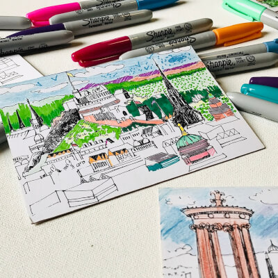 Colour-In Postcards Set Of 7 Edinburgh Cityscapes