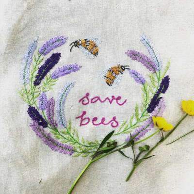 'Save The Bees' Lavender, Diy Embroidery Kit