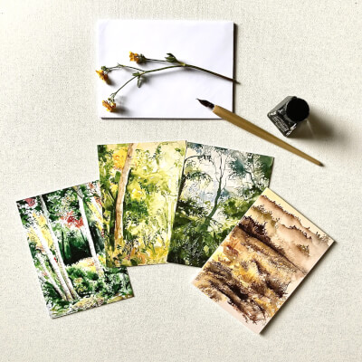 Blank Greeting Cards Set Of 4 (Forests)