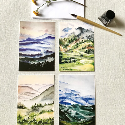 Blank Greeting Cards Set Of 4 (Mountains)