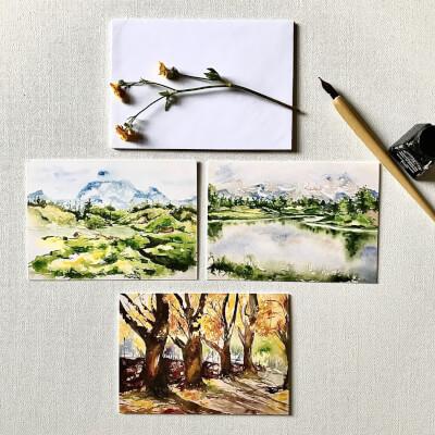 Blank Greeting Card Set Of 3 (Landscapes)