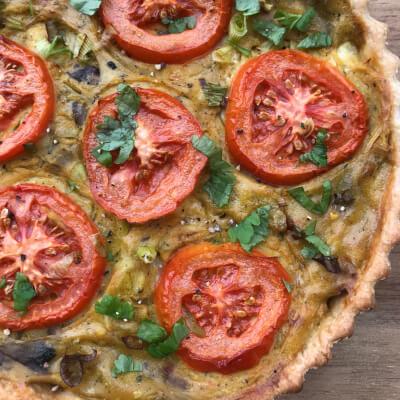 Vegan Mushroom, Leek And Cauliflower Quiche