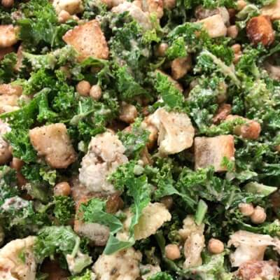 Vegan Cauliflower, Kale And Chickpea Caesar Salad
