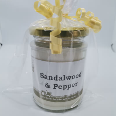 Sandalwood & Pepper 100% Soy Wax Candle